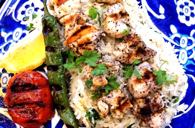 Sumac Chicken Shish Kebabs Turkish Rice Pilaf W Orzo